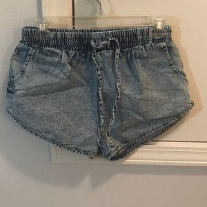 Denim look stretch shorts